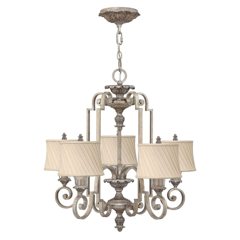 Kingsley 5 Light Chandelier In A Silver Leaf Finish With Dark Ivory Pleated Fabric Shades Hk Kingsley5